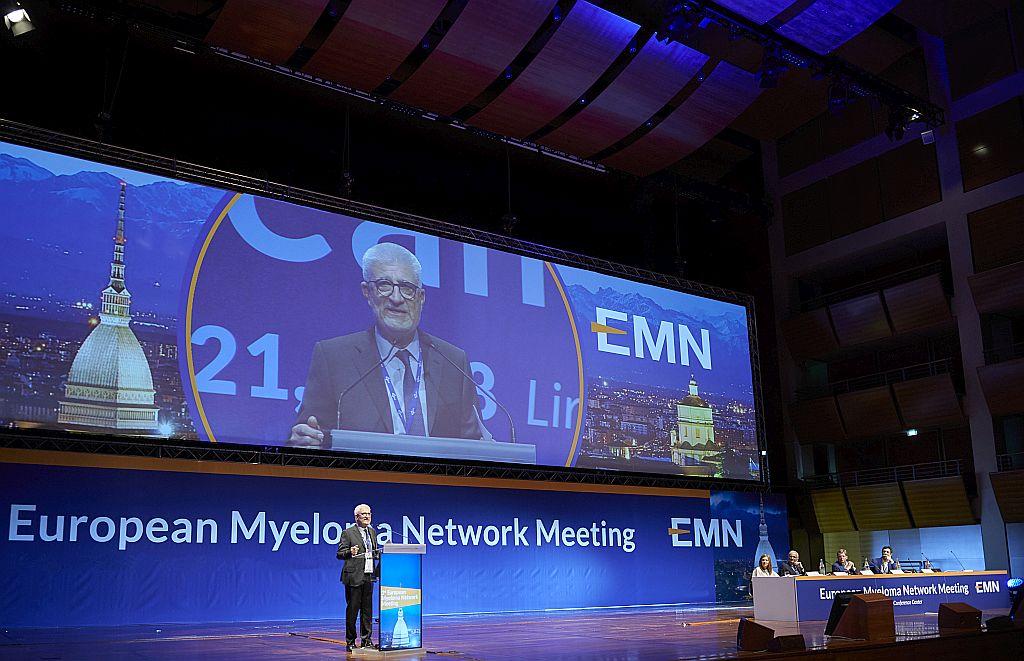 Il Professor Mario Boccadoro, Presidente del Working Group EMN Italy , alla prima edizione del congresso dell'European Myeloma Network svoltasi a Torino nell'aprile del 2018